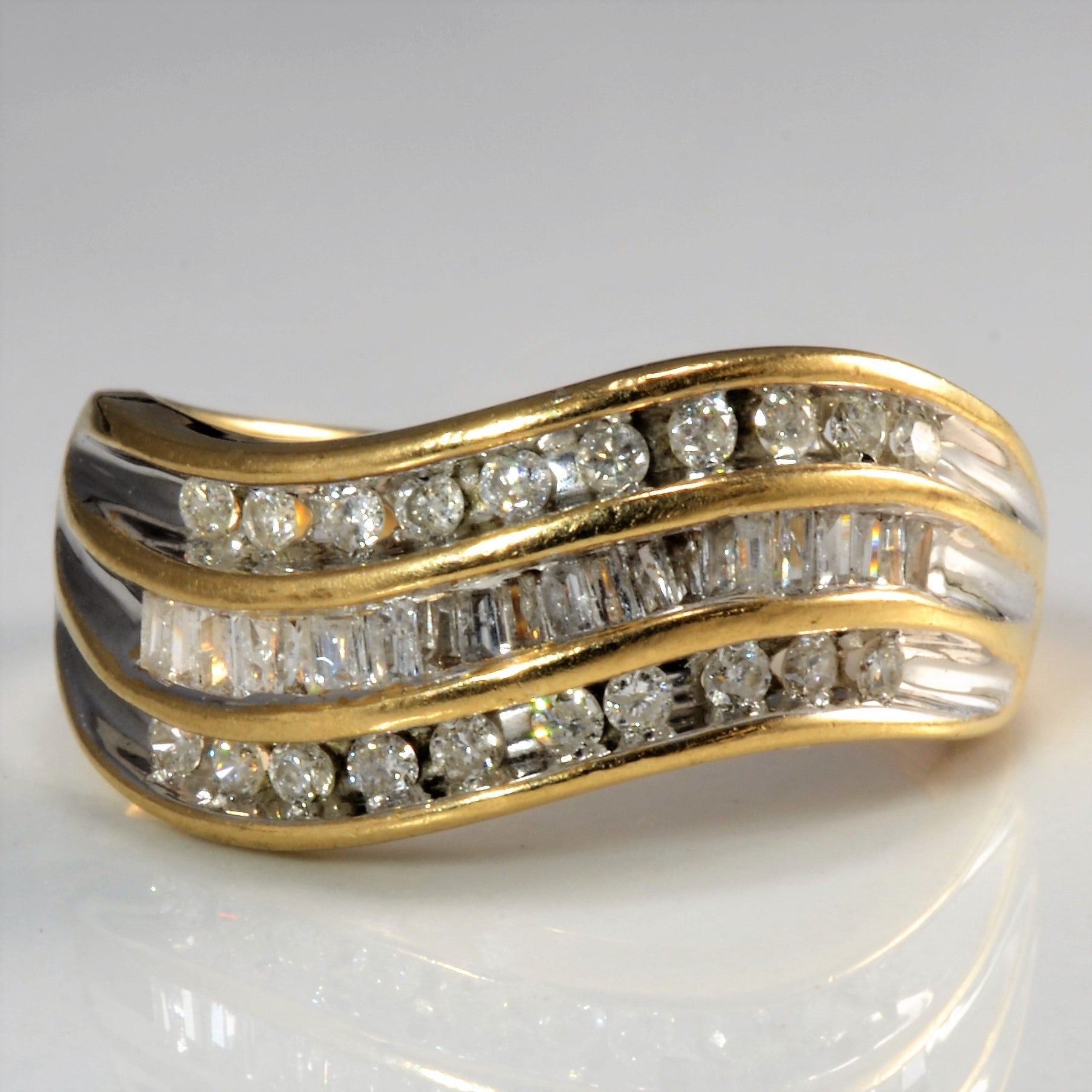 Triple Row Wave Diamond Ring | 0.41 ctw, SZ 7.25 |