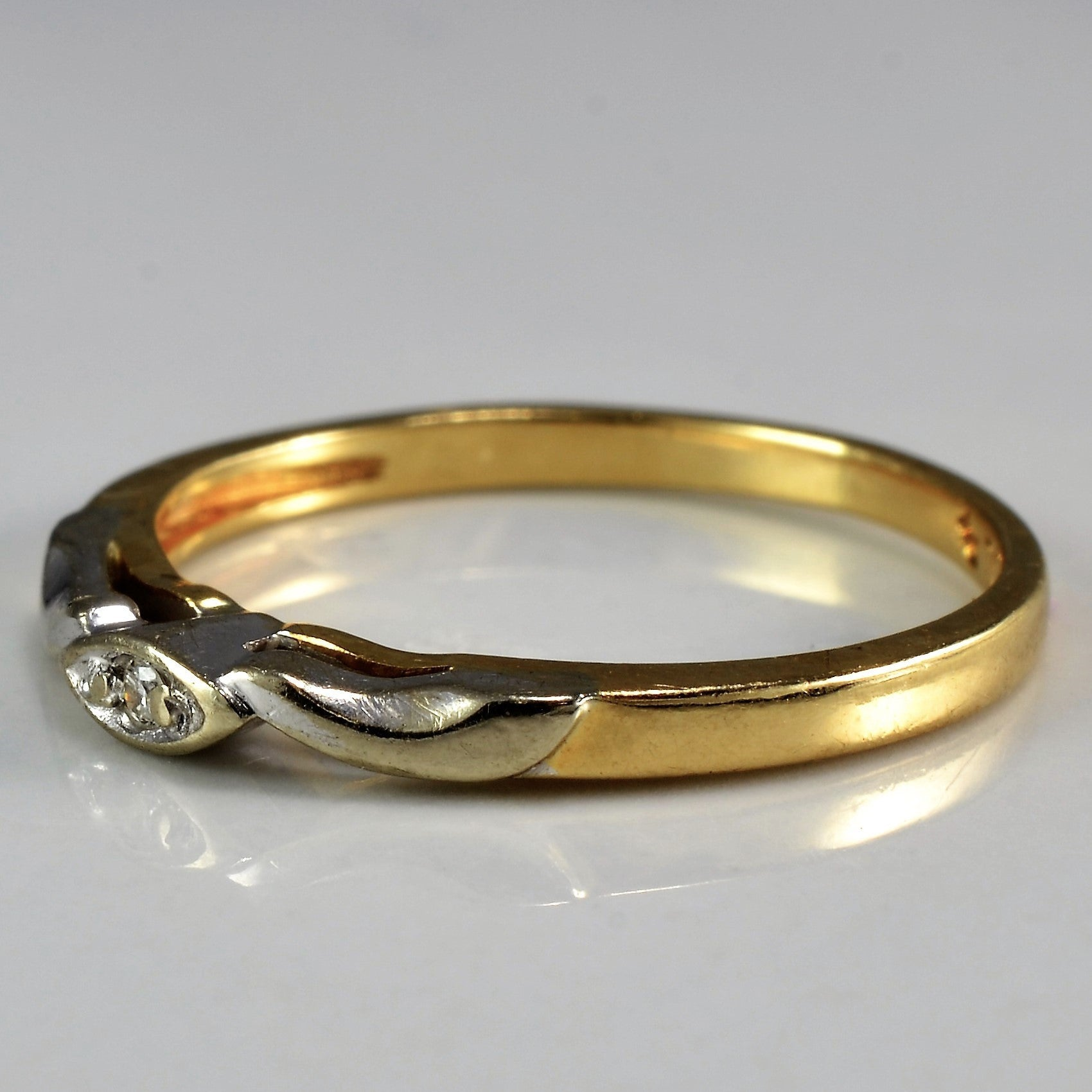 Vintage Two Tone Diamond Wedding Band | 0.01 ct, SZ 5.25 |