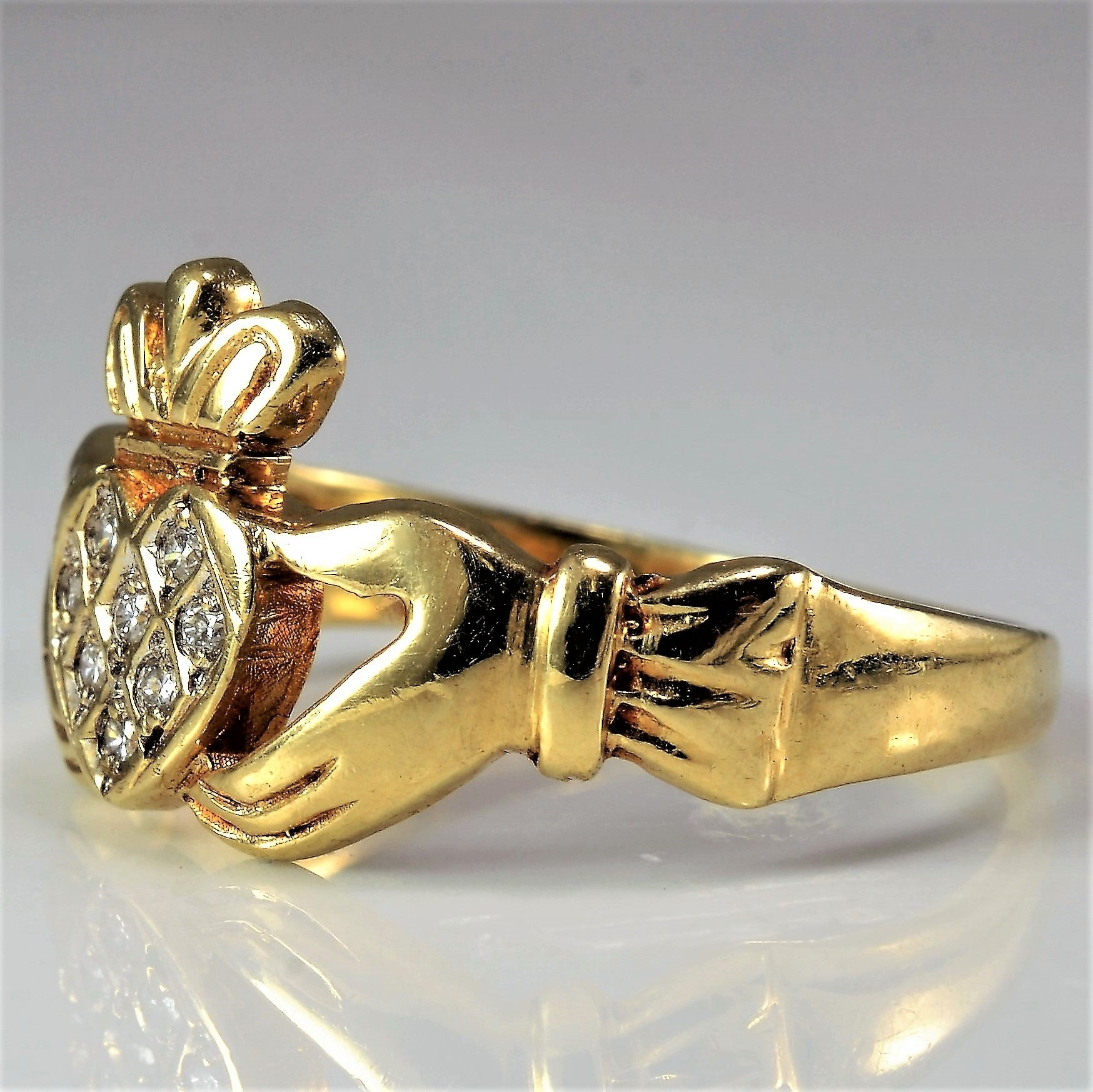 Diamond Claddagh Ring | 0.05 ctw, SZ 6 |