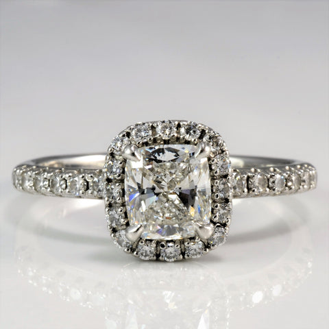 Elegant Cushion Diamond Halo Engagement Ring | 1.00 ctw, SZ 7.75 |