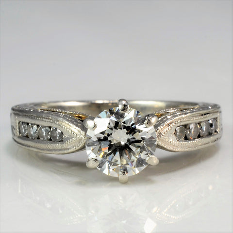 Beautiful Cathedral Diamond Engagement Ring | 0.91 ctw, SZ 4.25 |