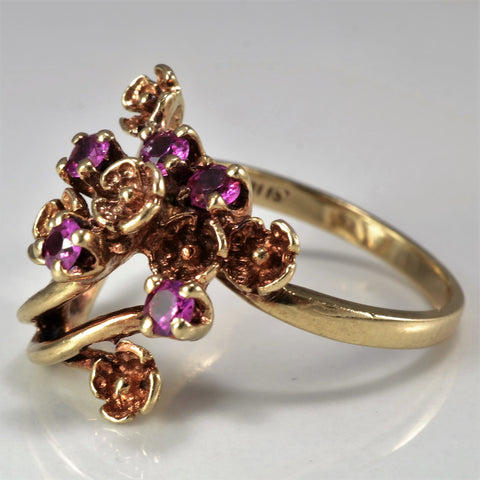 Retro Era Floral Ruby Ring | SZ 6.25 |