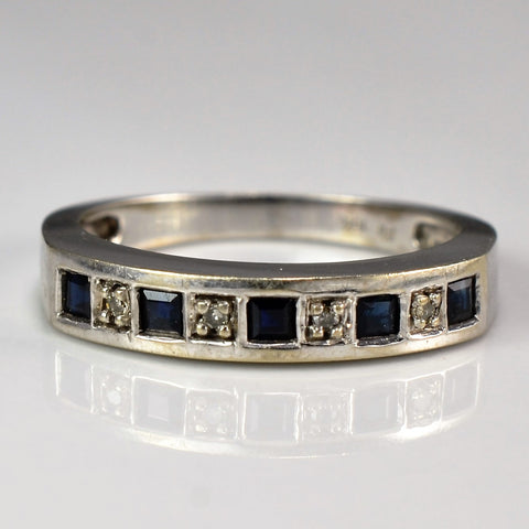 Alternating Square Sapphire & Diamond Band | 0.02 ctw, SZ 5.75 |