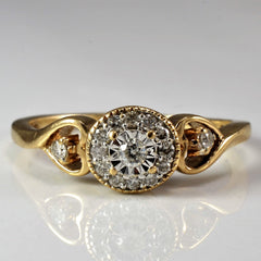 Diamond Halo Promise Ring | 0.15 ctw, SZ 6.25 |