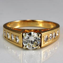 Wide High Set Diamond Engagement Ring | 0.86ctw | SZ 6 |
