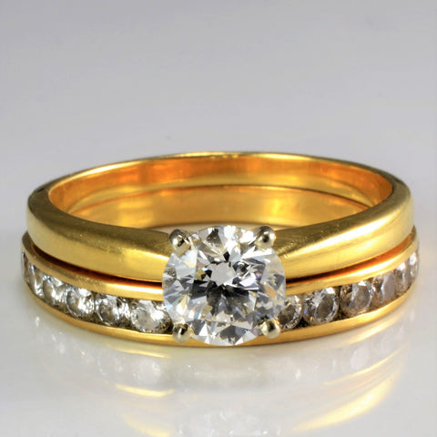 18K Gold Solitaire & Channel Diamond Wedding Ring Set |1.52 ctw, SZ 9.75 |