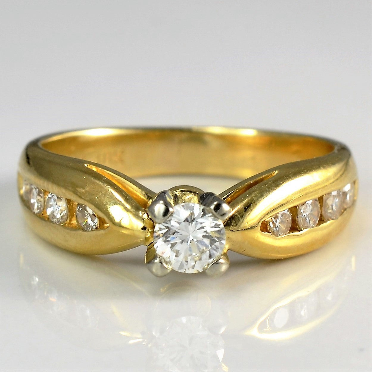 Wide Tapered Yellow Gold Engagement Ring | 0.38 ctw, SZ 5.5 |