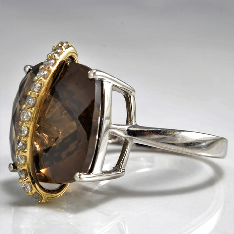 Cushion Cut Smoky Quartz Cocktail Ring | 0.13 ctw, SZ 7 |