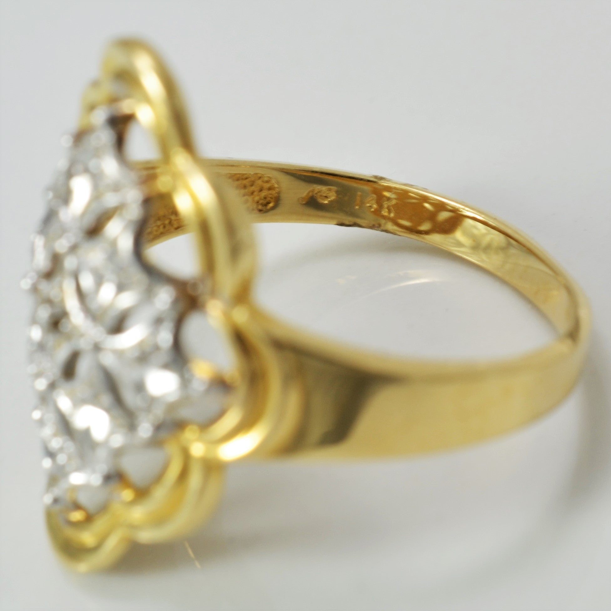 Marquise Shaped Diamond Cocktail Ring | 0.01 ct, SZ 10 |