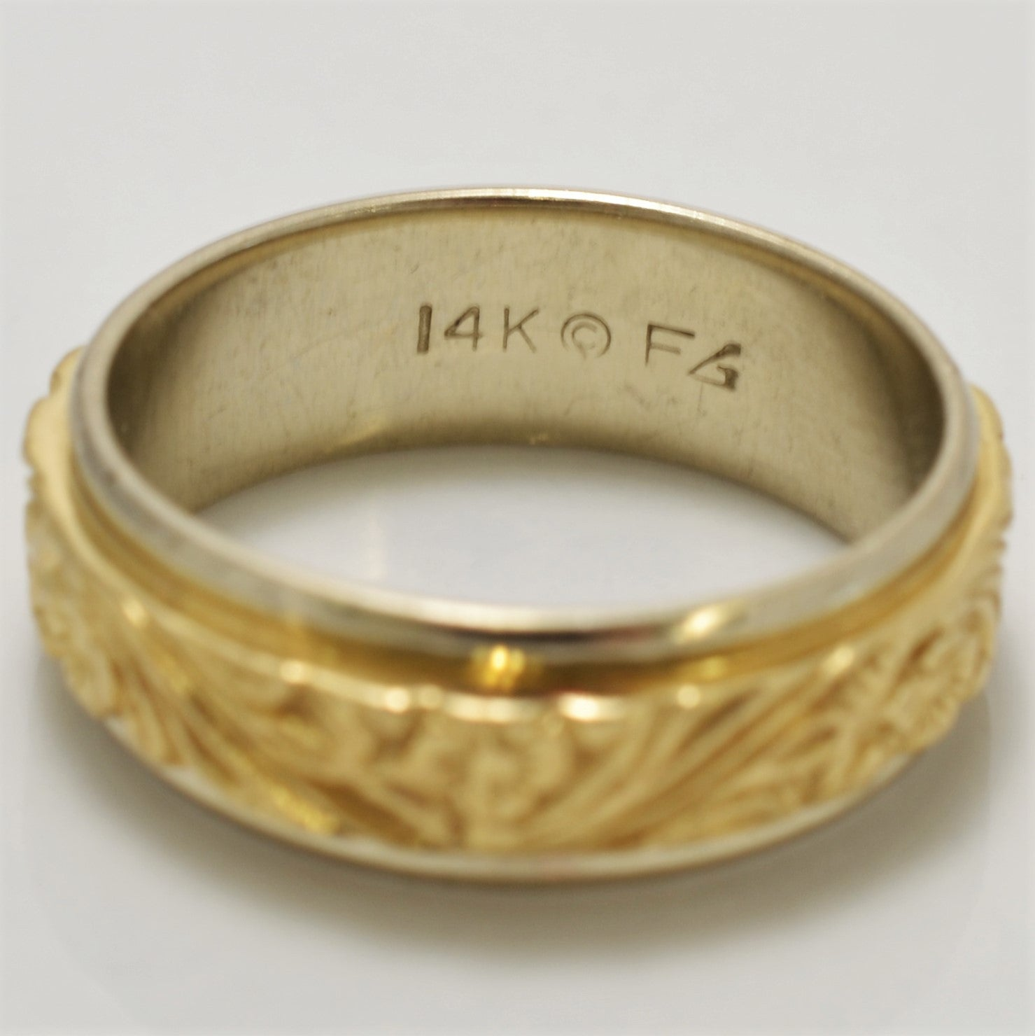 Engraved Floral Pattern Gold Band | SZ 7 |