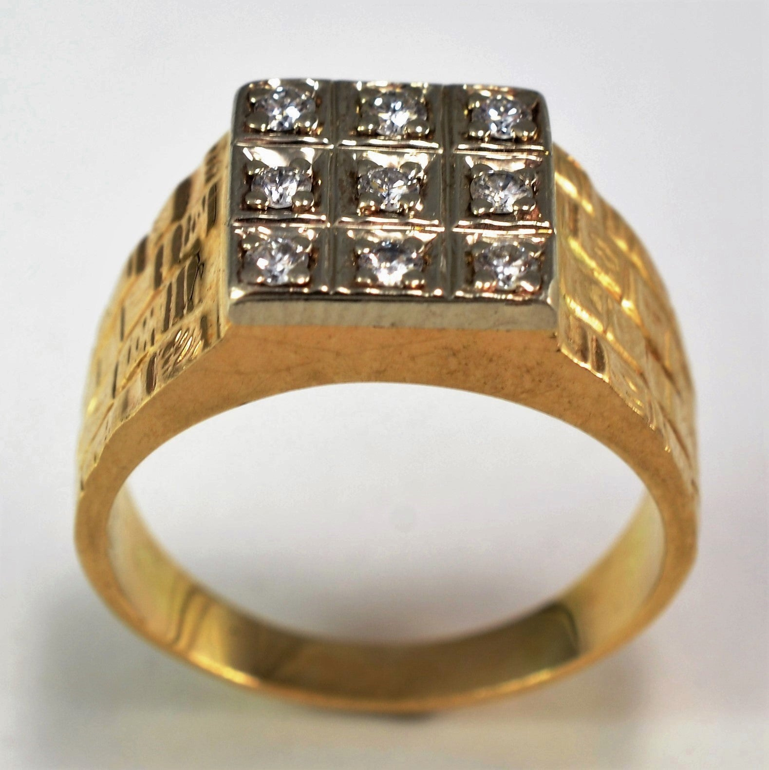 Diamond Grid Textured Cocktail Ring | 0.15 ctw, SZ 5.75 |