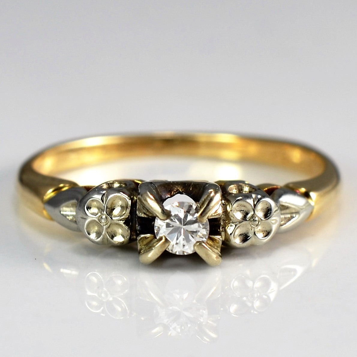 Floral Detailed Vintage Diamond Engagement Ring | 0.07 ct, SZ 5 |