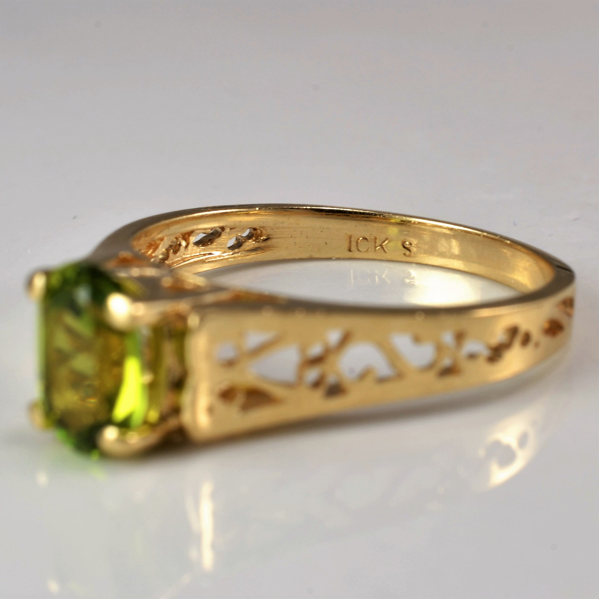 Oval Cut Demantoid Garnet Ring | SZ 6 |