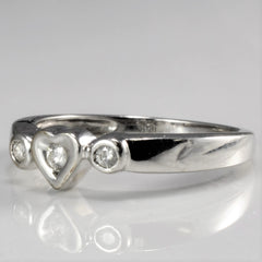 Three Stone Heart Pattern Diamond Promise Ring |0.10 ctw, SZ 7 |