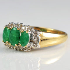 Oval Cut Emerald & Diamond Ring | 0.10 ctw, SZ 10 |