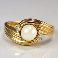 Twisted Offset Pearl & Diamond Ring | SZ 6.75 |
