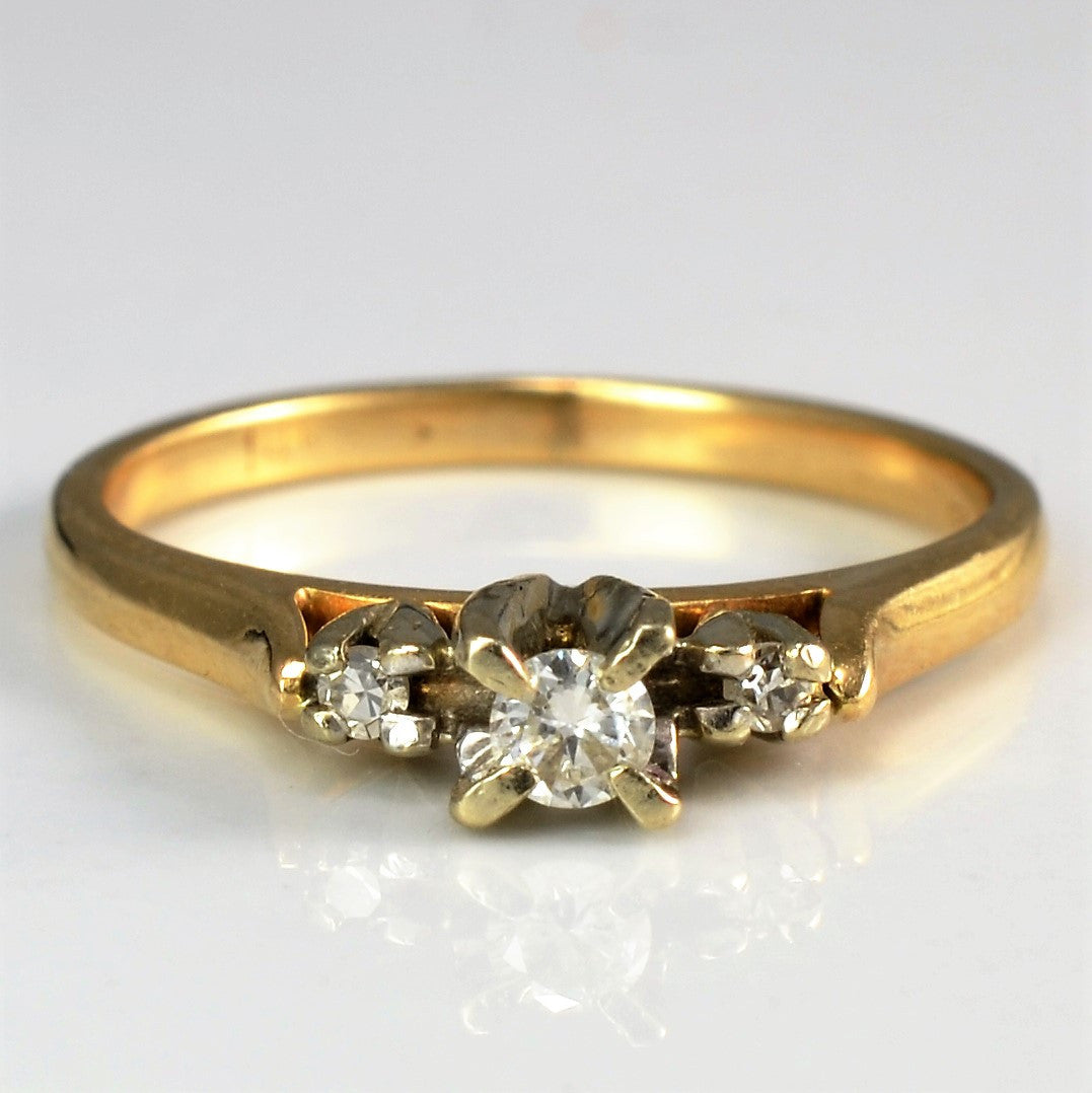 Vintage Three Stone Setting Ring | 0.08 ctw, SZ 4.5 |