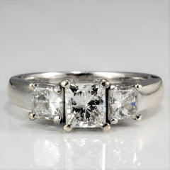 Three Stone Princess Diamond Engagement Ring | 1.36 ctw, SZ 5.25 |