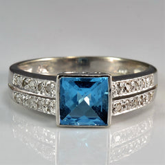 Double Row Diamond & Topaz Ring | 0.10 ctw, SZ 7.25 |