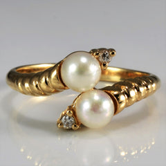Yellow Gold Pearl Bypass Ring | 0.02 ctw, SZ 6 |