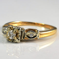Retro Yellow Gold Engagement Ring | 0.17 ctw, SZ 6 |
