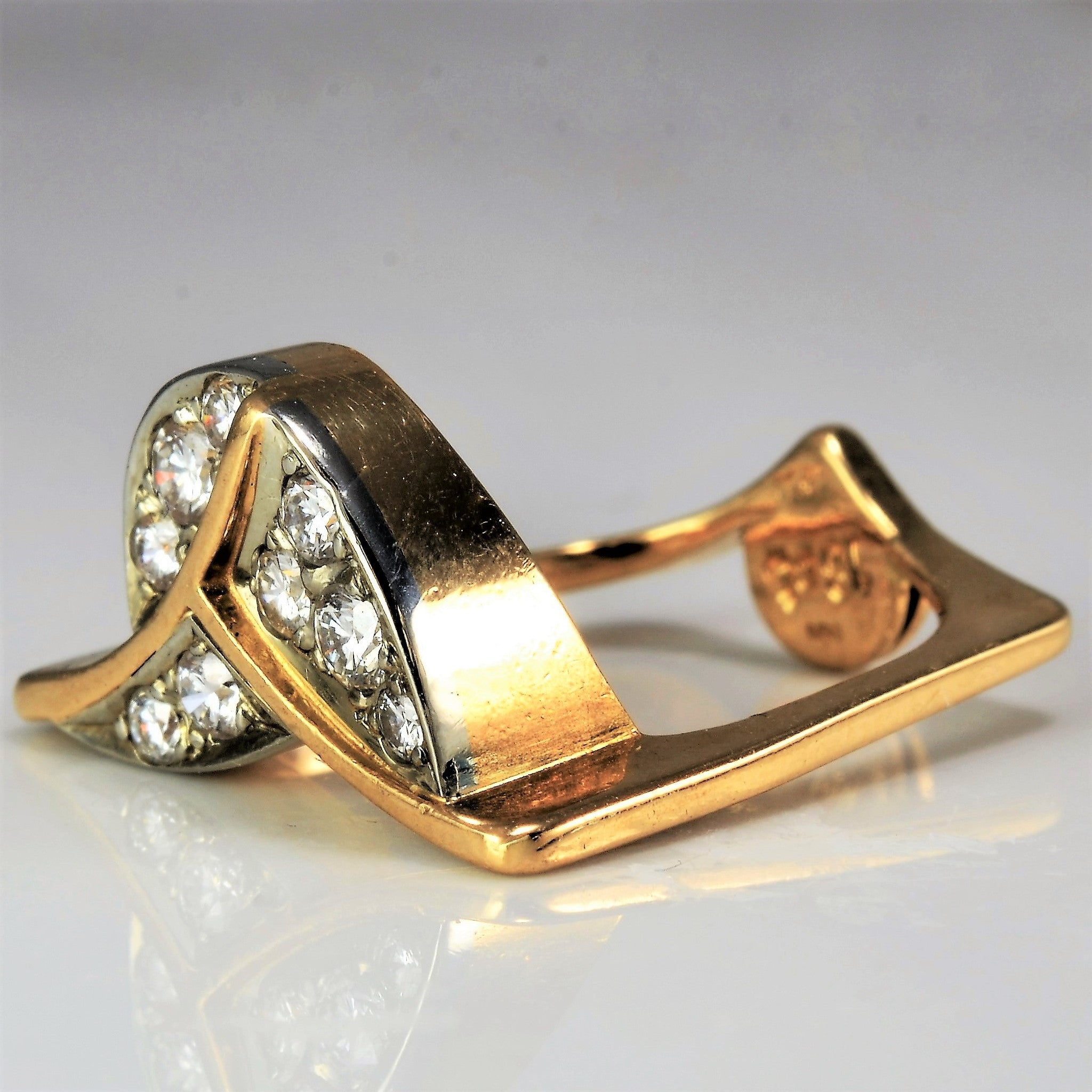 Abstract Flat Band Diamond Ring | 0.35 ctw, SZ 3.75 |