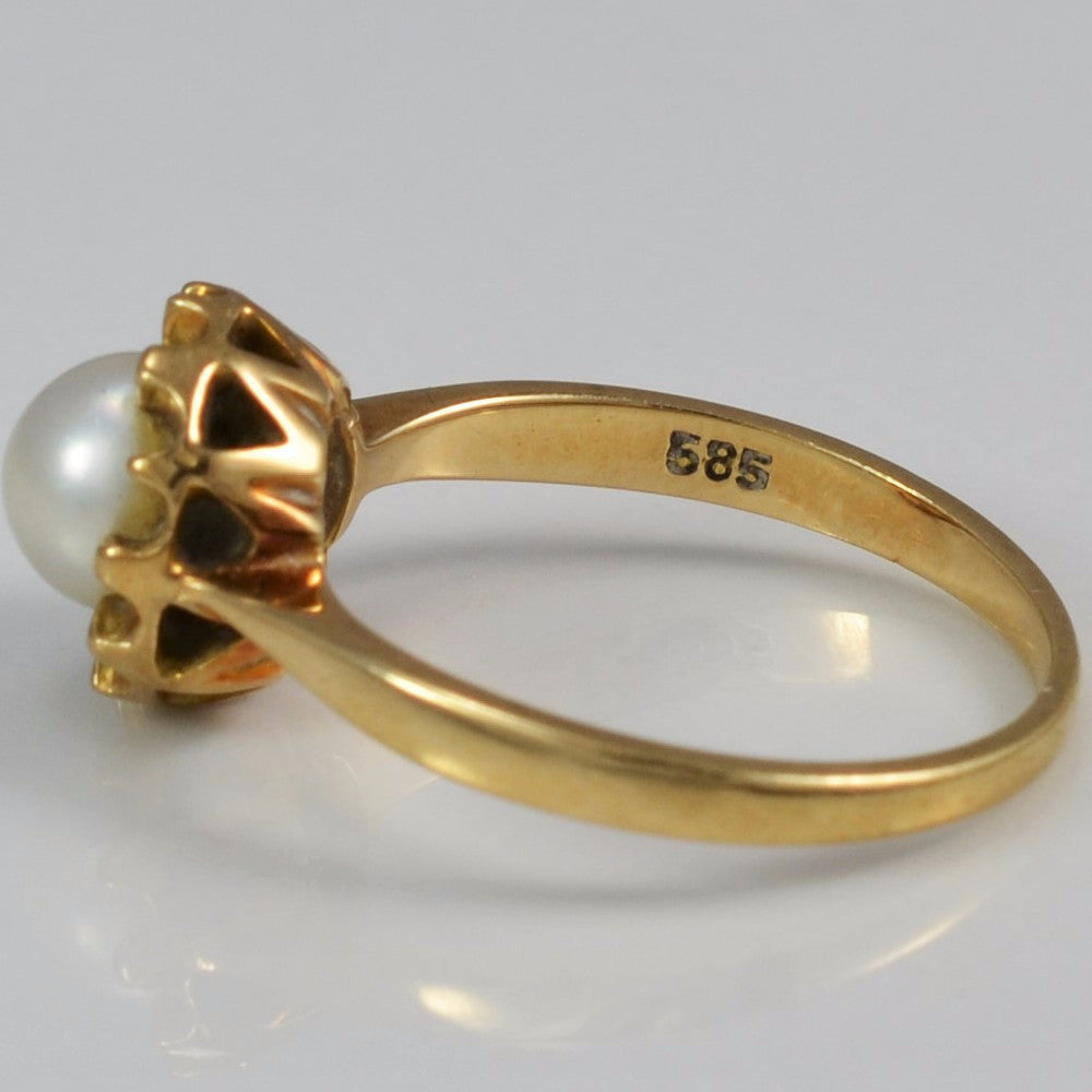 Tapered Solitaire Pearl Ring | SZ 6.25 |