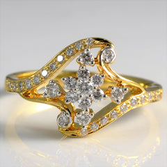 Ornate Split Shank Floral Ring | 0.25 ctw, SZ 7 |