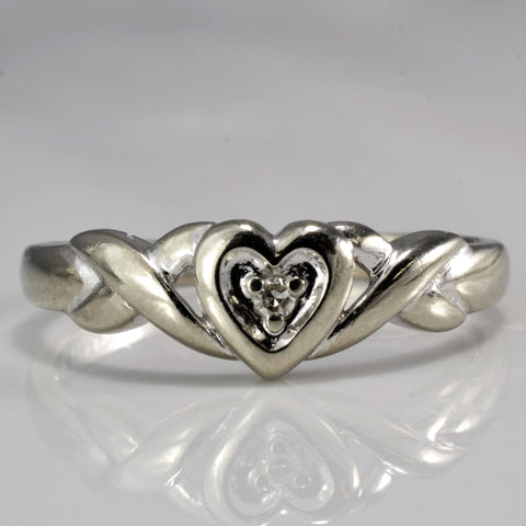 Twisted Diamond Heart Ring SZ 6