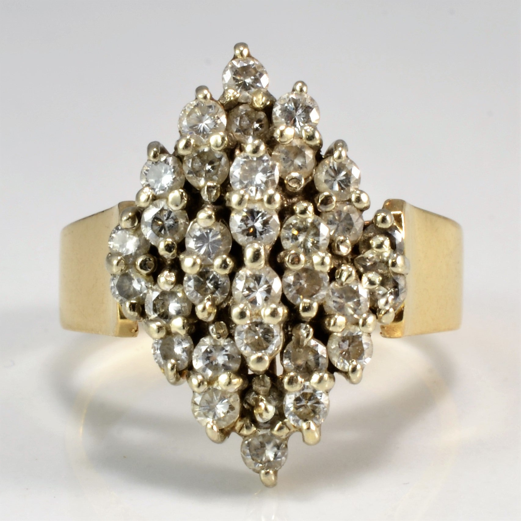 Marquise Shaped Diamond Cluster Ring | 0.91 ctw, SZ 5 |