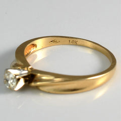Twisted Gold Solitaire | 0.18 ct, SZ 6.5 |