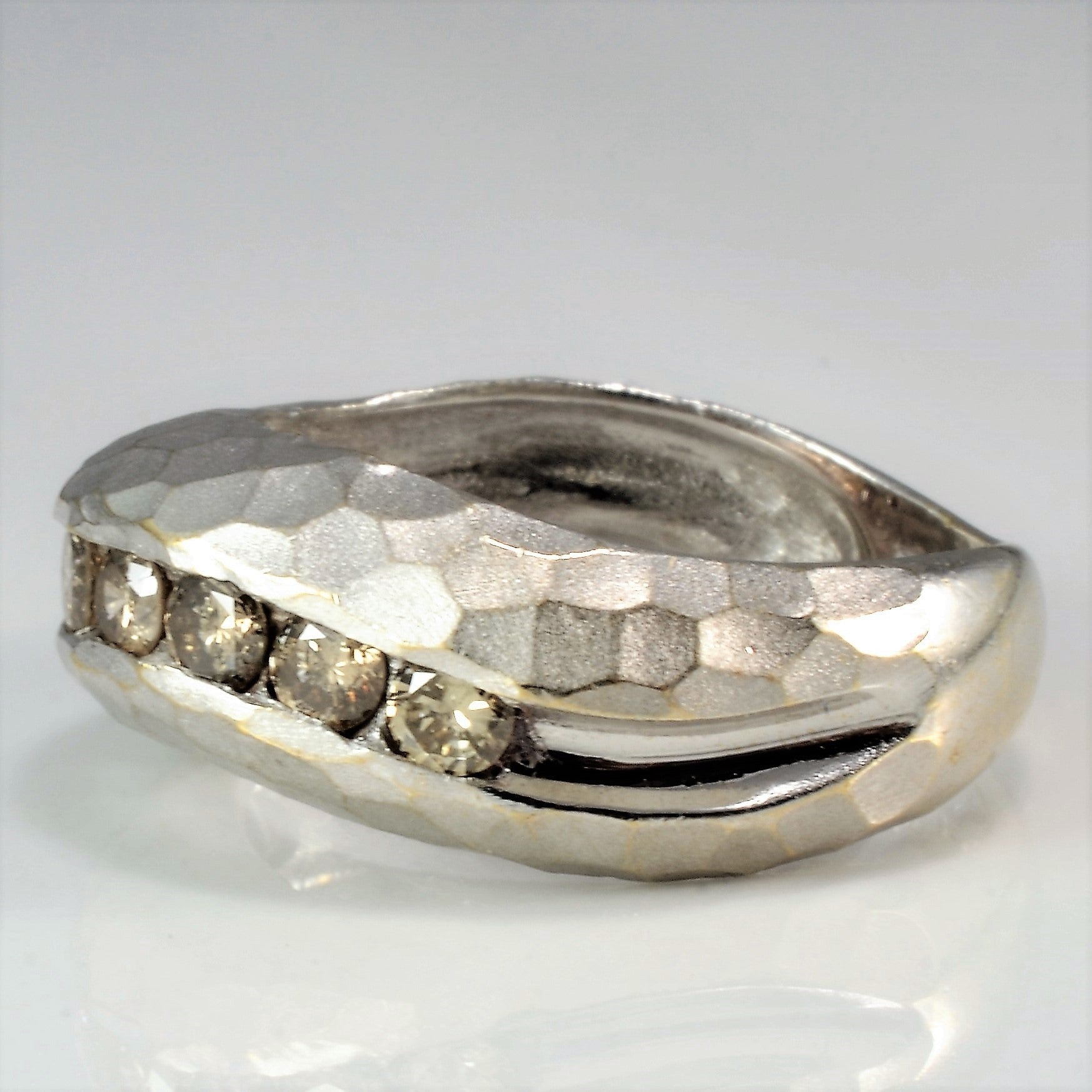 Hammered Champagne Diamond Wave Band | 0.75 ctw, SZ 7 |