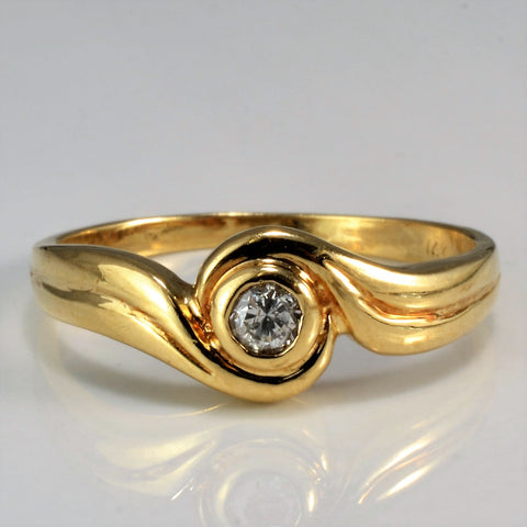 Bezel Set Solitaire Diamond Swirl Ring | 0.10 ctw, SZ 6.75 |