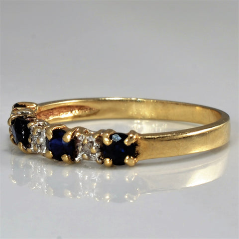 Alternating Sapphire & Diamond Band | 0.03 ctw, SZ 6.25 |