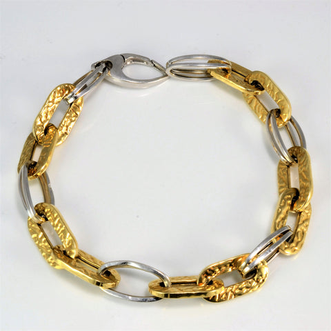 Two Tone Oval Links Gold Chain Bracelet | 7.5"