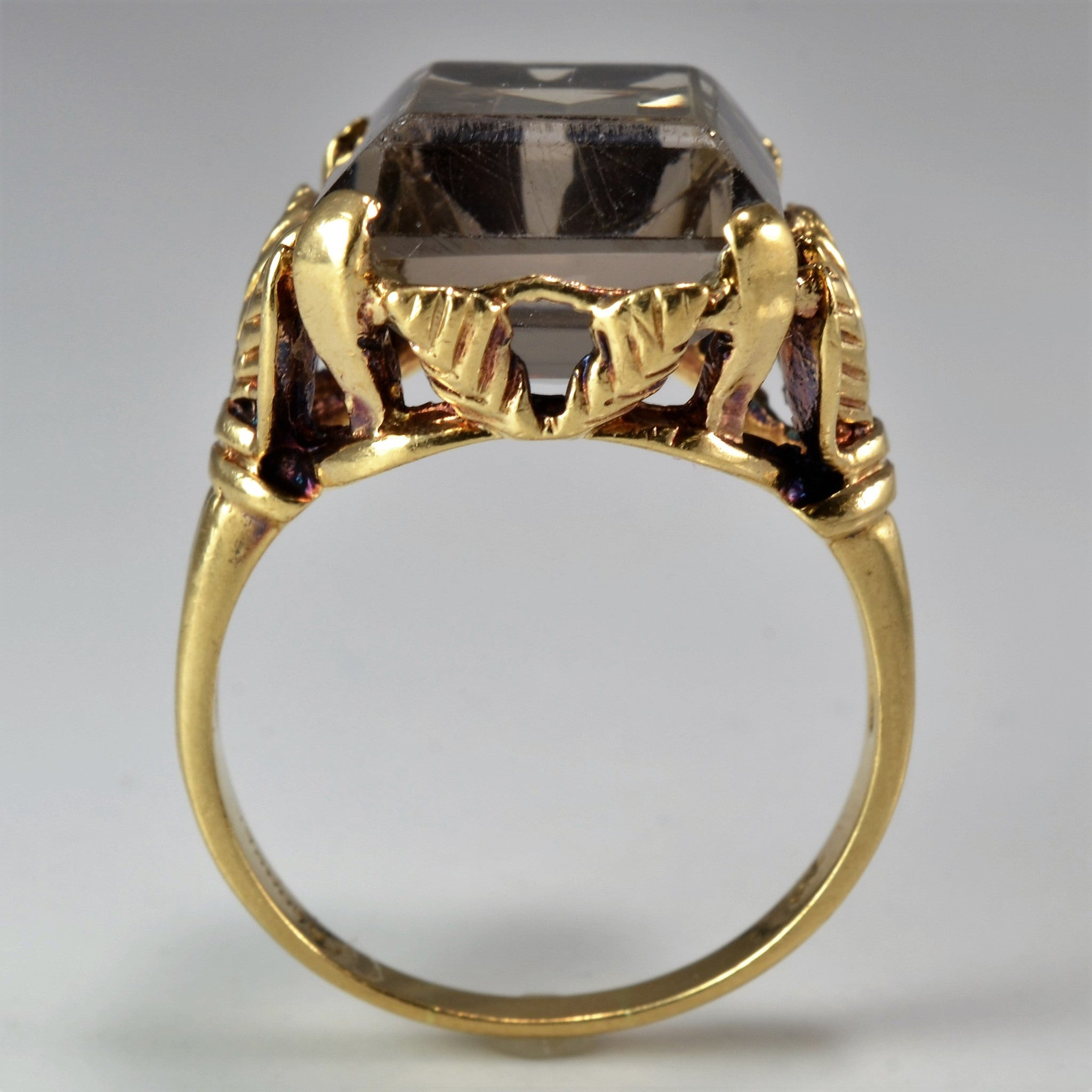 Vintage Emerald Cut Smoky Quartz Ring | SZ 7.75 |