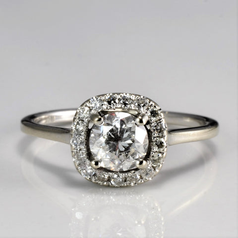 Halo Diamond Petite Engagement Ring | 0.68 ctw, SZ 5 |