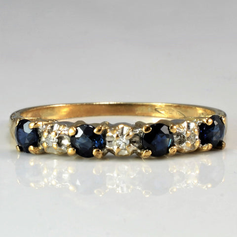 Alternating Prong Set Diamond & Sapphire Band | 0.02 ctw, SZ 6.25 |
