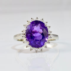 Amethyst & Diamond Halo Ring | 0.18 ctw SZ 7 |