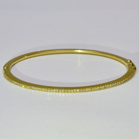 Petite Bead Set Diamond Bangle | 0.25 ctw, 7"