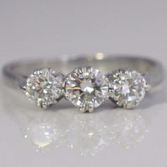 Circa 1950's Three Stone Engagement Ring | 0.73 ctw, SZ 6.25 |