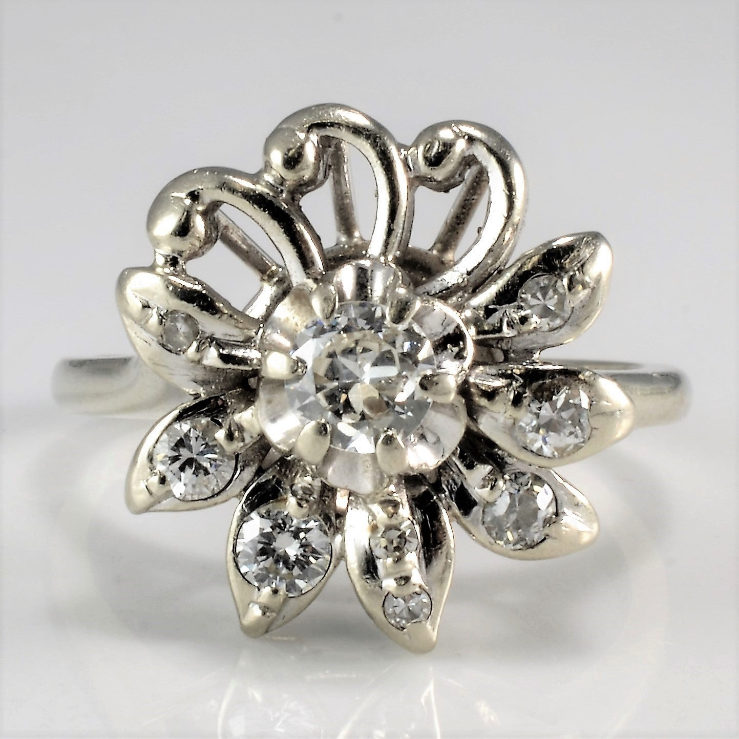 High Set Floral Diamond Ring | 0.39 ctw, SZ 6 |