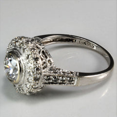 Pave Halo Diamond Engagement Ring | 1.45 ctw, SZ 7 |