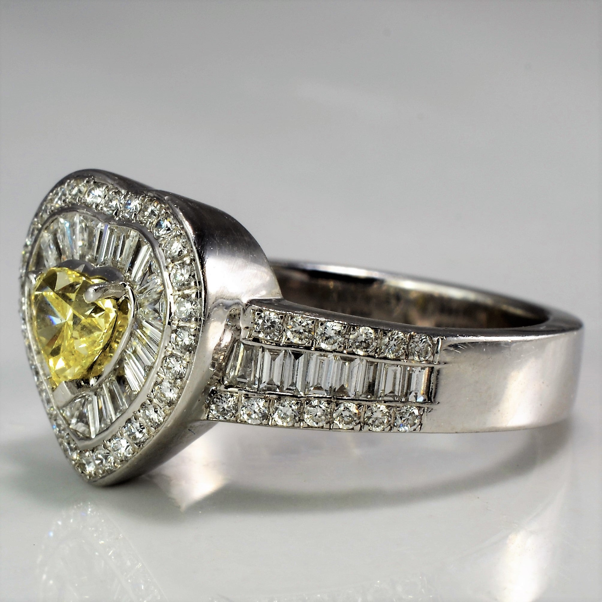 Yellow Heart Diamond Engagement Ring | 1.35 ctw, SZ 6.5 |