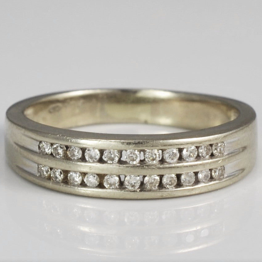 Channel Set Double Row Diamond Band | 0.15 ctw, SZ 7.25 |