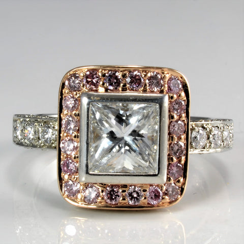 """MonteCristo"" Two Tone Gold Halo Diamond Engagement Ring 