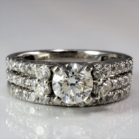 Double Pave Band Engagement Ring And Wedding Band SZ 4.75