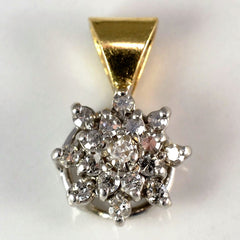 Two Tone Diamond Floral Cluster Pendant | 0.15 ctw |