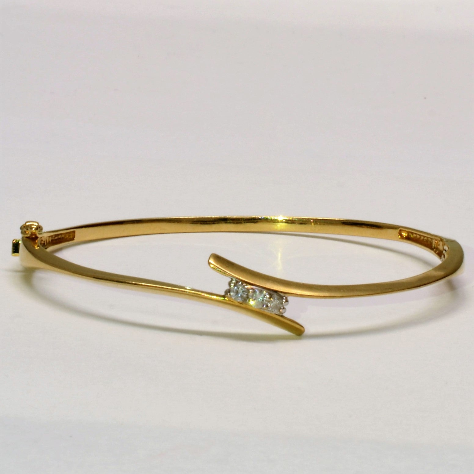 Three Stone Diamond Bypass Bangle | 0.15 ctw, SZ 7.5 |