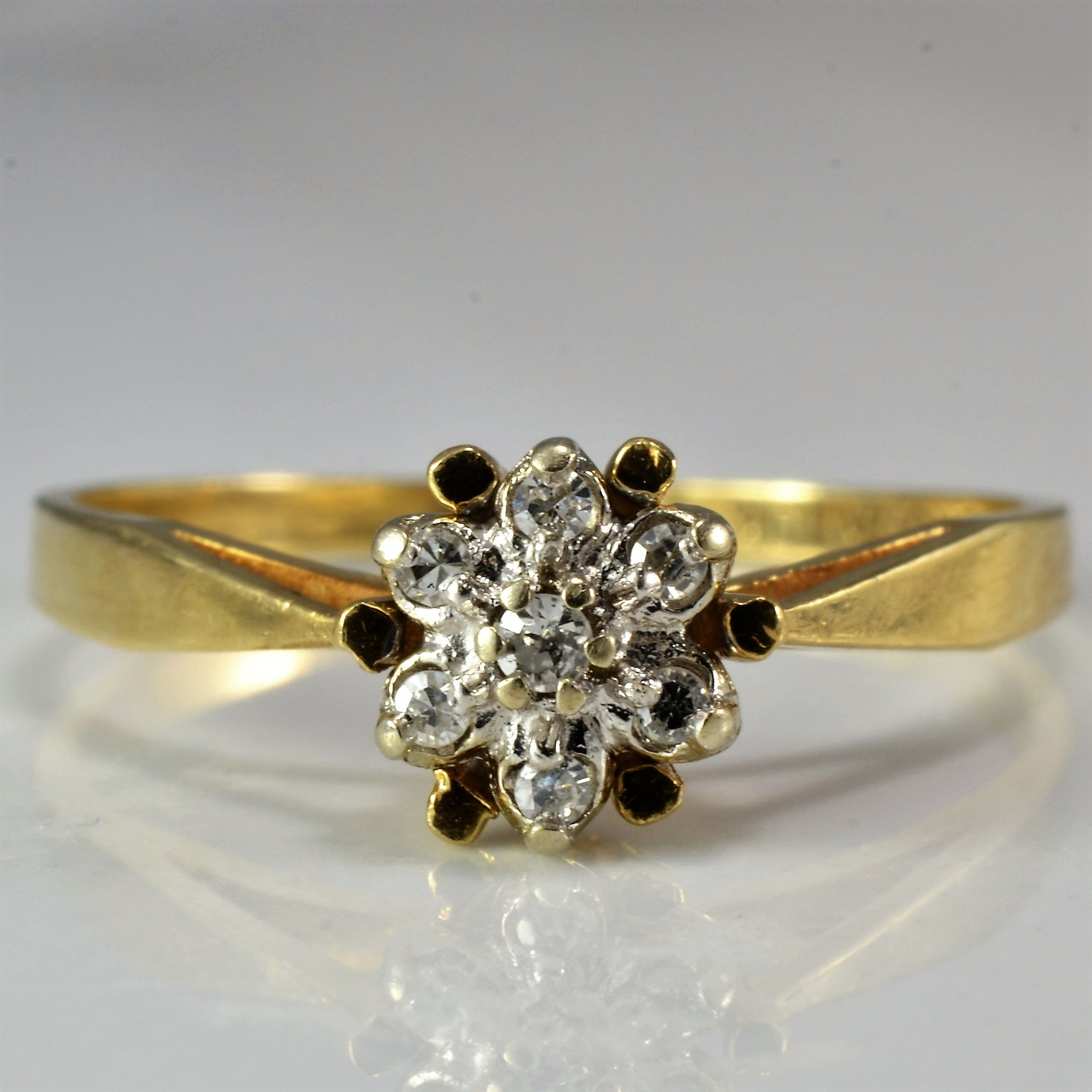 Tapered Floral Ring | 0.04 ctw, SZ 6.5 |